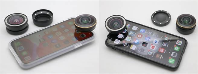 ShiftCam透明旅行攝影組iPhone 11(左)以及ShiftCam旅行攝影組iPhone 11 Pro Max都附有可換裝高階鏡頭的配件(前鏡頭範例照)。(黃慧雯攝)