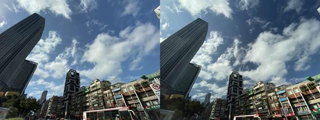 iPhone 11超廣角景頭與運用CPL濾鏡的對比照。 (黃慧雯攝)