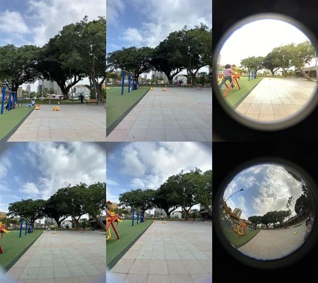 iPhone 11實拍照(裝上HD鏡頭):左二上下分別是原本手機廣角鏡頭、超廣角鏡頭所拍,中間及右側上下則是加上ShiftCam PRO高階HD廣角鏡頭、ShiftCam PRO 230度全幅HD魚眼鏡頭的對比照片。(黃慧雯攝)