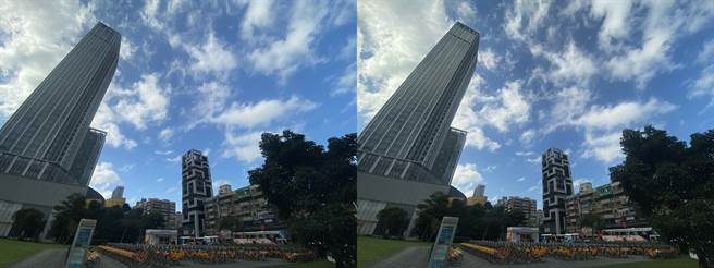 iPhone 11 Pro Max超廣角景頭與運用CPL濾鏡的對比照(2),透過CPL可以拍攝更深邃的天空顏色。 (黃慧雯攝)