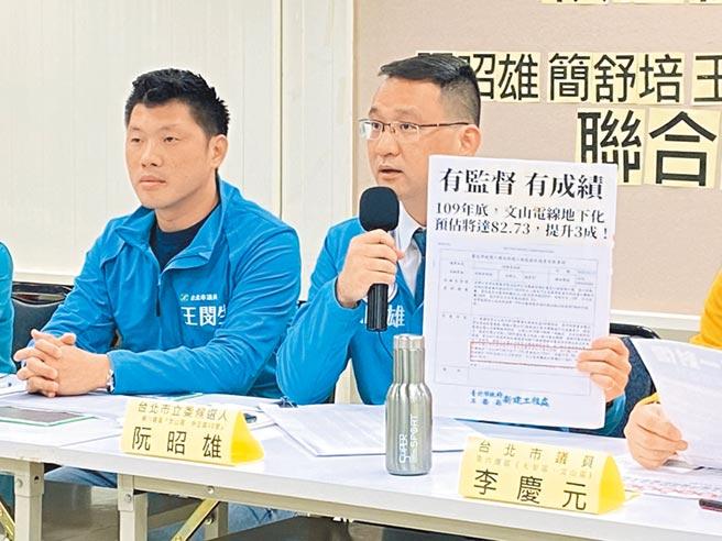 民進黨候選人阮昭雄昨召開記者會,與跨區議員一同抨擊現任國民黨立委賴士葆對「電線下地」監督不力。(游念育攝)