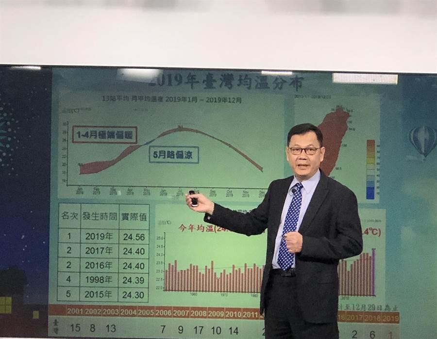 氣象局預報中心今(31)分析2020第一季氣候狀況。(李柏澔攝)