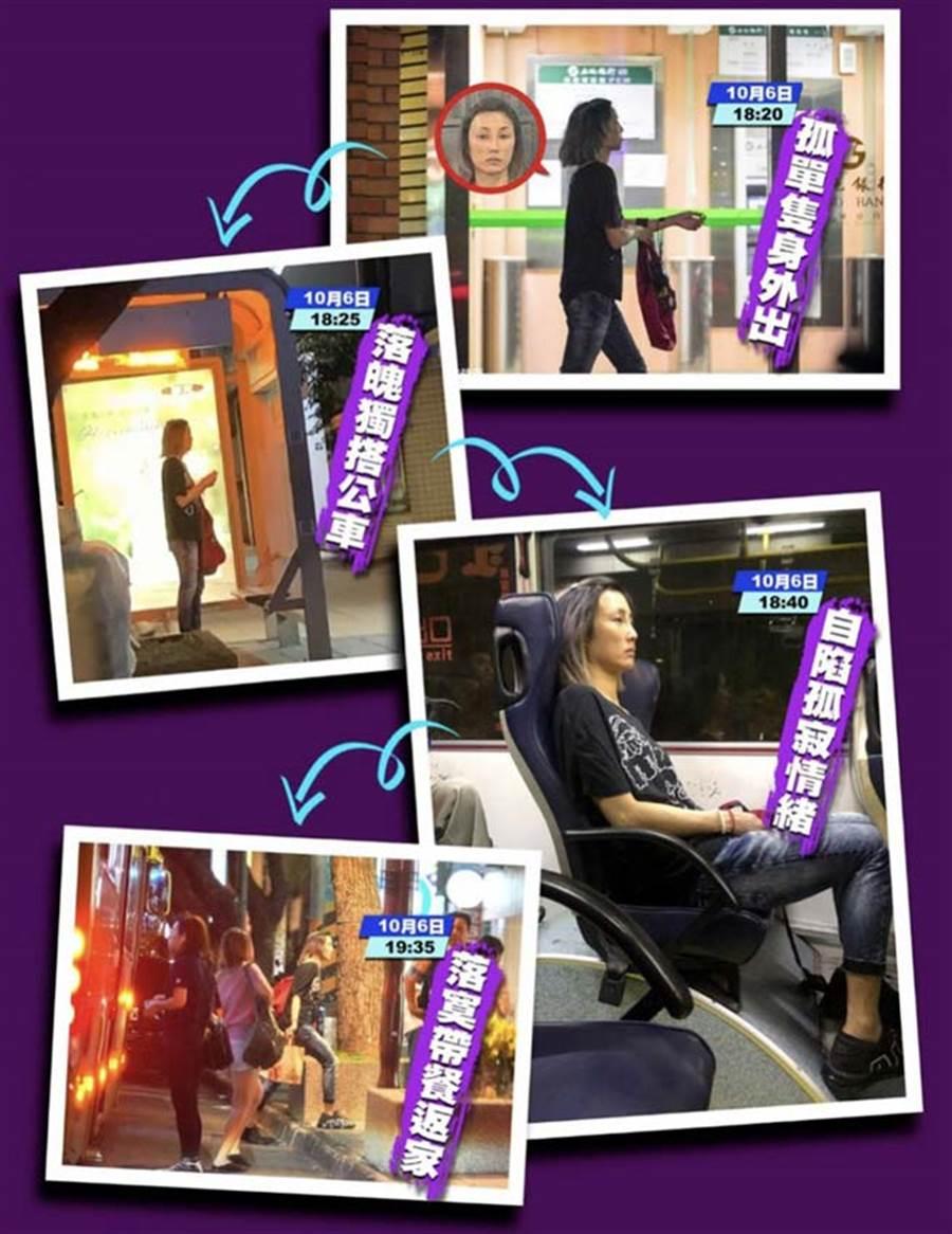 蔣友柏帶一雙子女離開後,林姮怡被直擊孤身搭公車到百貨公司外帶一人份食物,難掩憔悴落魄。(圖/《毅傳媒iWAKE》提供)
