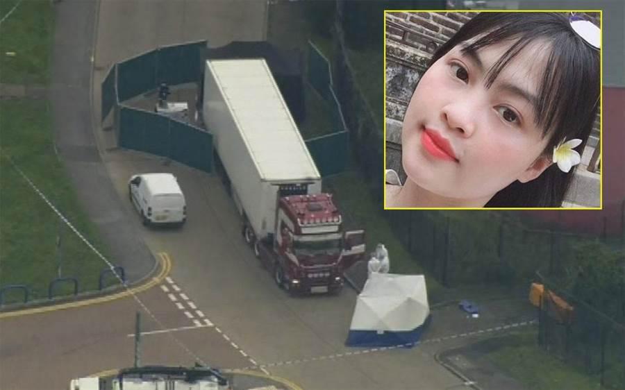 英國埃塞克斯郡冷凍貨櫃藏屍案中,一名越南女子發出悲慘訣別訊息。(美聯社)