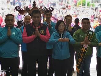 蔡英文赴卓蘭峩崙廟參拜 稱推農民退休制度