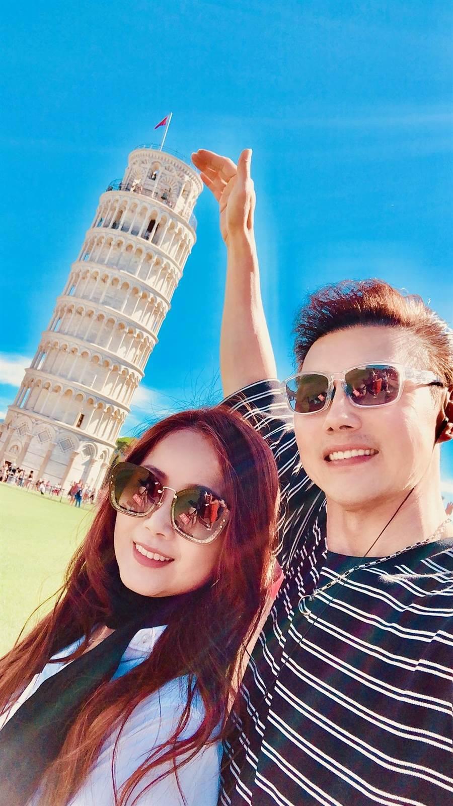 寵妻出名的包偉銘,與老婆劉依純赴義大利慶祝結婚三週年。(翰森娛樂提供)
