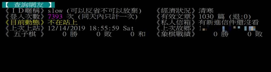 一查PTT帳號發現,楊蕙如主帳號「slow」曾在被起訴後的2個禮拜(12.14)登入過PTT,距離上次登入(8.16)已過4個月 (圖/翻攝自PTT)