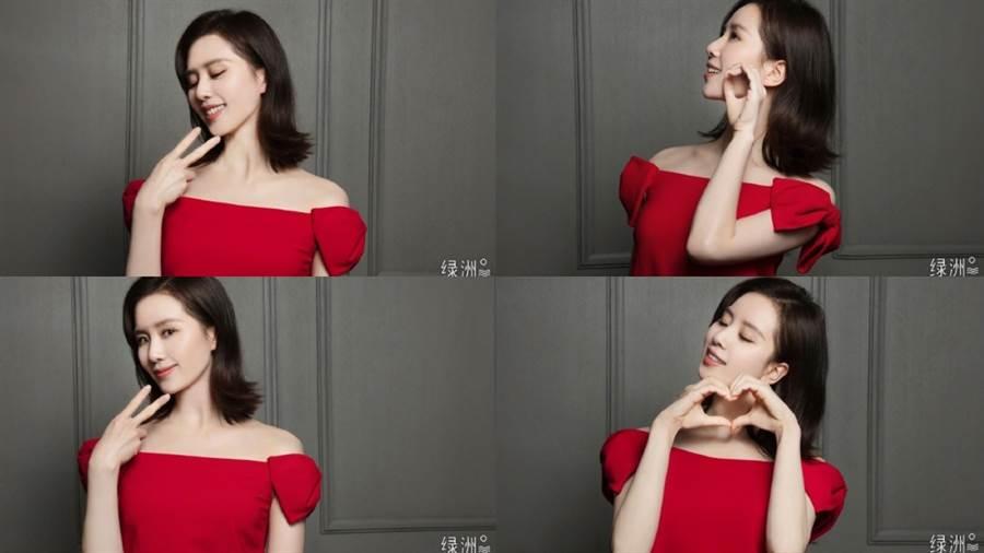大陸女星劉詩詩曬出一組四宮格連拍美照。(圖/摘自微博@刘诗诗)