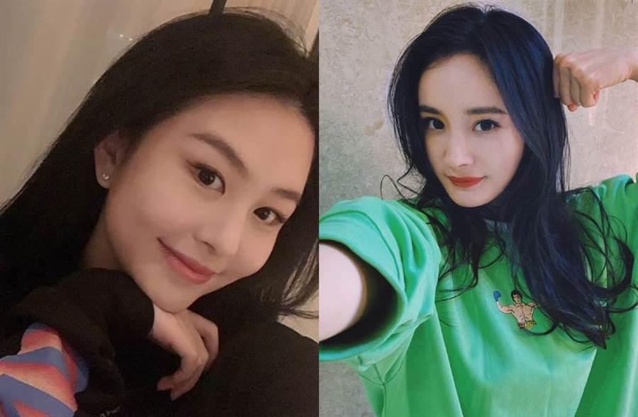 網友發現楊冪和邱淑貞女兒撞衫。(圖/翻攝自微博)