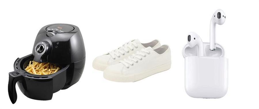 momo購物網公布《2019年十大熱銷商品》與《爆紅風雲榜》,飛樂氣炸鍋、MUJI小白鞋、Apple AirPods、金車CrystalValley礦沛氣泡水等皆榜上有名。(圖/富邦媒提供)