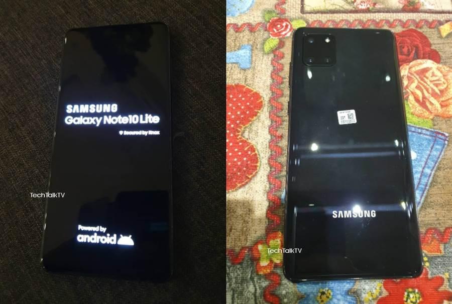 三星 Galaxy Note 10 Lite 真機照片提前曝光。(摘自Twitter)