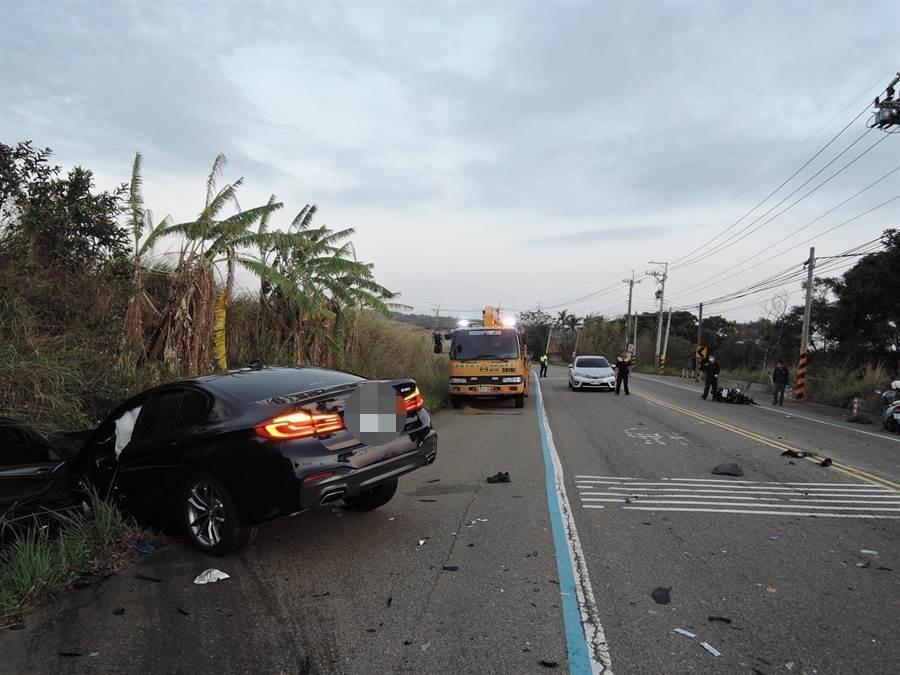 蔡姓技師開著新車進行性能測試時,不慎衝撞對向機車,釀2死悲劇。(讀者提供/陳淑娥台中傳真)