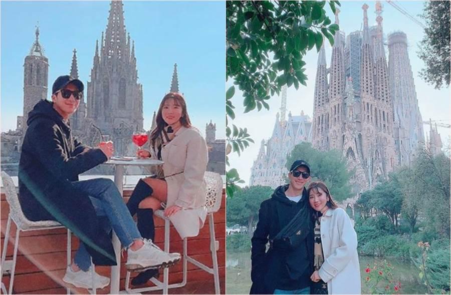 韓國女神金泰熙的男神帥弟李莞和新婚妻子高球天后李寶美到西班牙度蜜月曬美照。(圖/翻攝自李寶美IG)