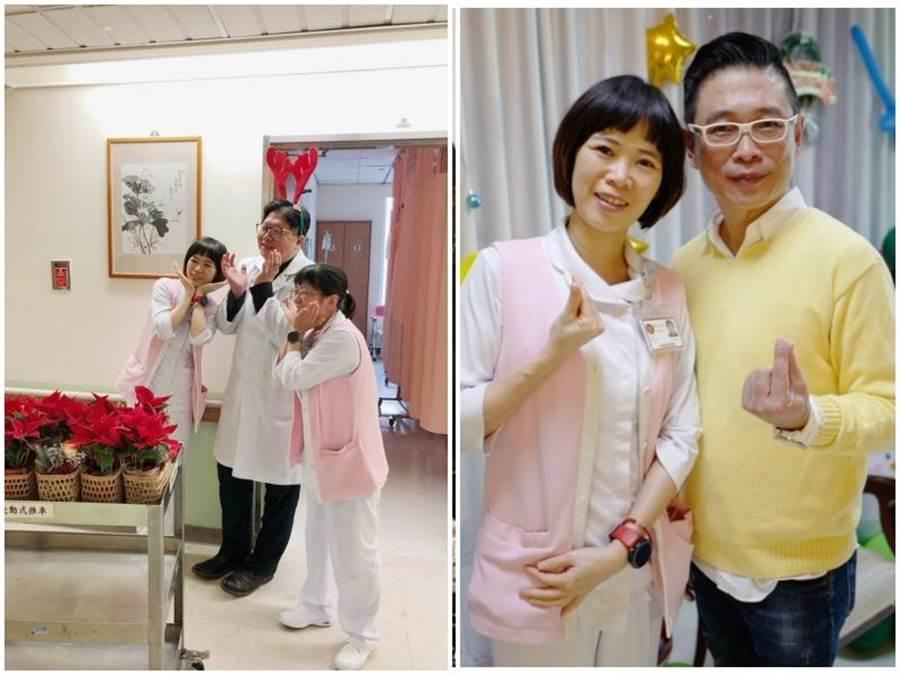 為三總安寧病房的督導陳雅琳與主治醫師一起為病友們送暖。