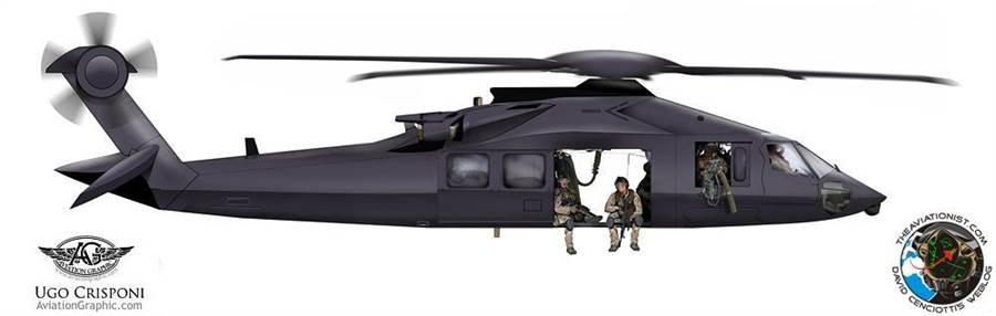 「匿蹤黑鷹」MH-X的其中一種假想圖,由航空學家所繪製。(圖/theaviationist)