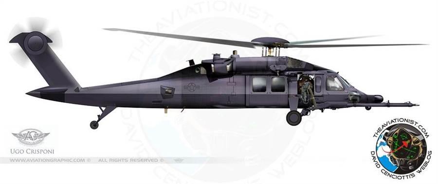 航空學家繪製的另一種匿蹤黑鷹想像圖,外型不進行過大的修改,只在主旋翼、發動機進氣口、排氣口與尾旋翼做了匿蹤化處理。(圖/theaviationist)