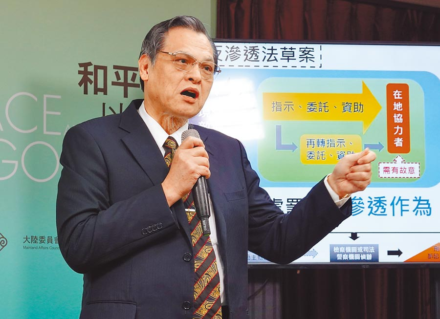 陸委會主委陳明通2日在記者會中說明反滲透法,並表示目前香港不算境外敵對勢力。(姚志平攝)