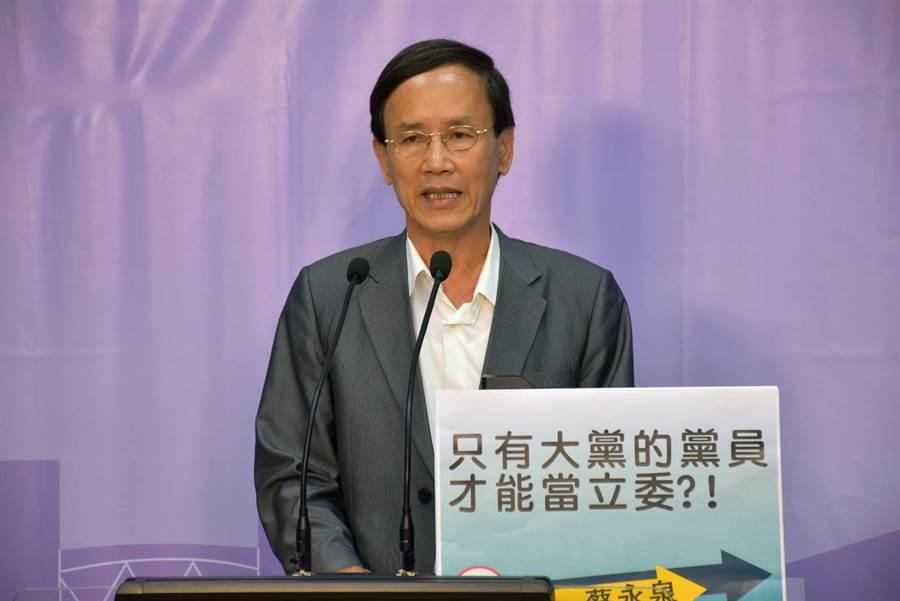 蔡永泉說會爭取推動雙語教學,延攬國際人才來台,以奠定台灣的全球競爭力。(呂妍庭攝)