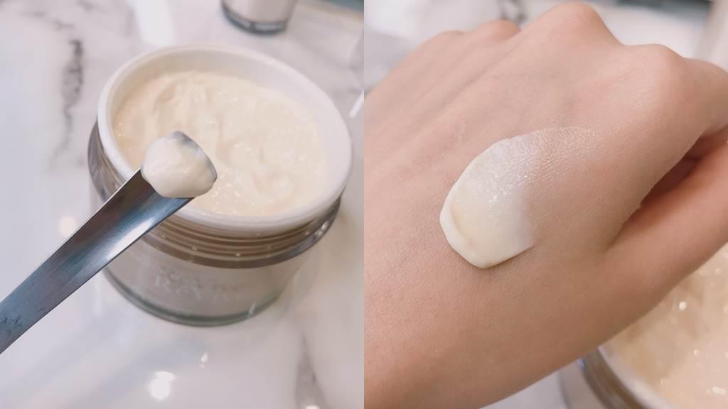 RéVive 4D緊膚美體霜是偏硬的霜狀,但推開後吸收非常迅速,不會有厚重感。(圖/邱映慈攝影)