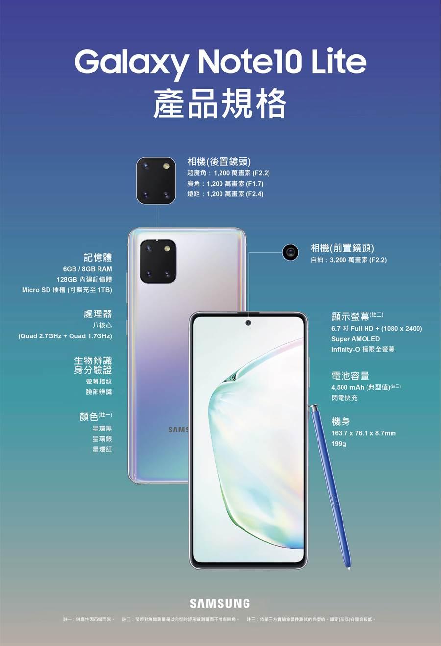 三星Galaxy Note10 Lite 規格。(三星提供/黃慧雯台北傳真)