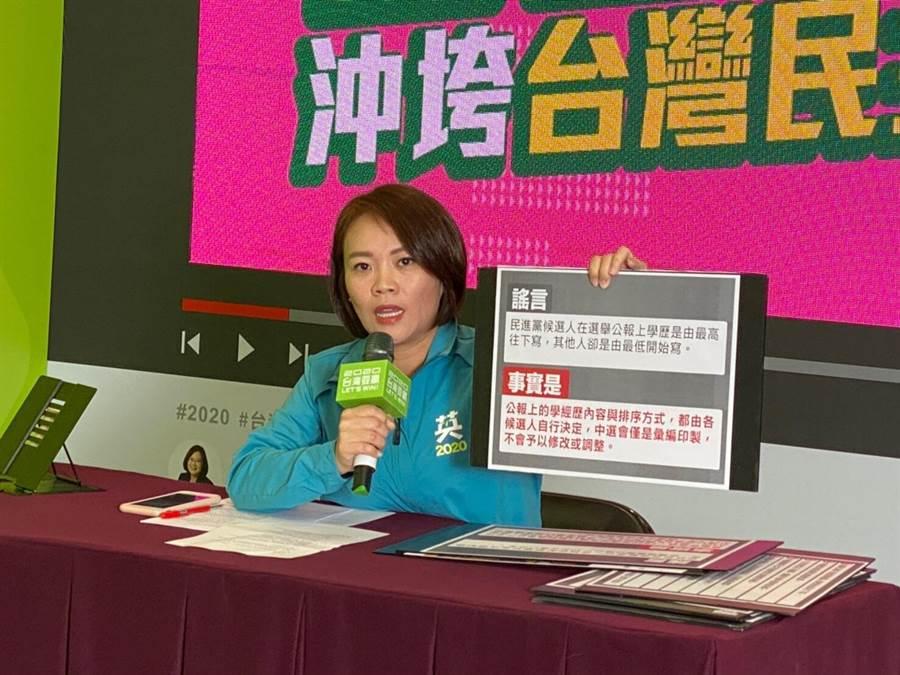 蔡英文連任辦公室發言人簡舒培(蔡英文競選連任辦公室提供)