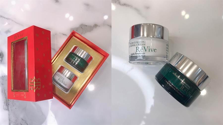 左:光采明眸亮顏組,右:綠色罐身是光采再生活膚霜正貨,白色罐身是光采明眸亮顏組中15ML的光采明眸亮顏霜。(圖/邱映慈攝影)