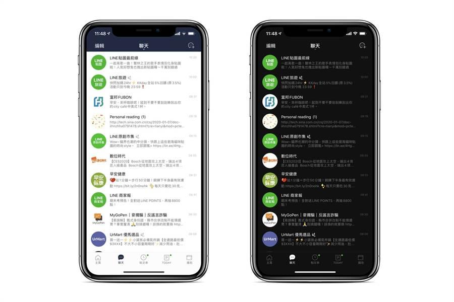 LINE iOS 9.19.0 版本中可支援深色模式功能,當你的 iPhone(升級到 iOS 13 之後),手機啟用深色模式時,LINE 也會隨之改為深色模式。(黃慧雯製)