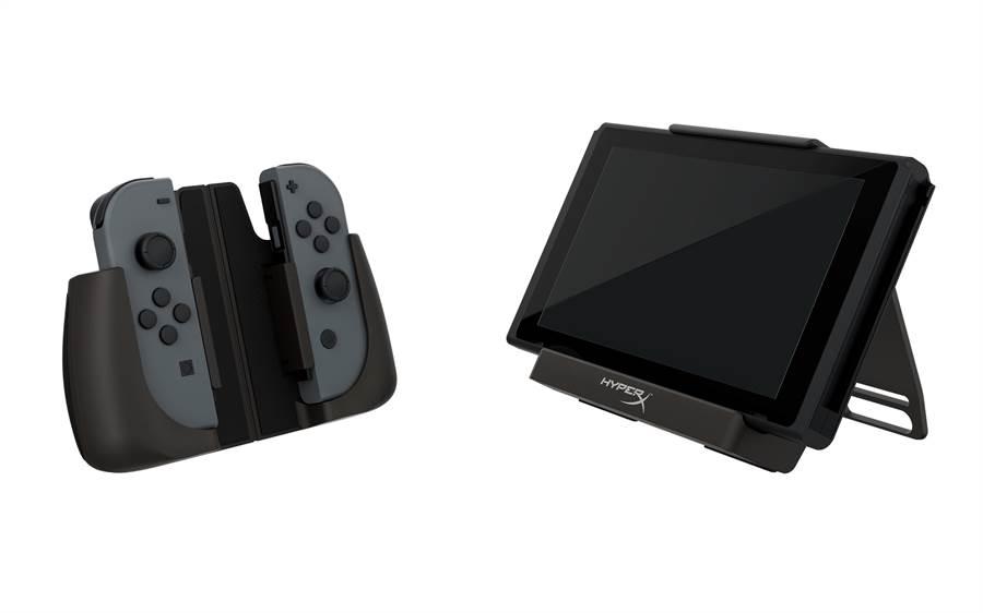 為任天堂Switch設計的HyperX ChargePlay Clutch 行動充電殼以及行動充電手把。(HyperX提供/黃慧雯台北傳真)