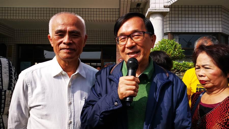 陳水扁強調,總統一定要讓蔡英文連任,儘管蔡英文不是你的第一選擇,但在面對外面勢力的打壓,這是一個不得不的選擇。(吳建輝攝)