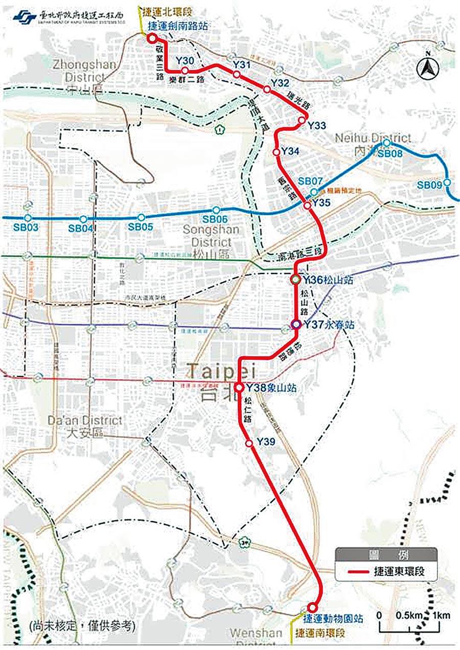 環狀線東環段6日獲國家發展委員會審議通過,圖為規畫路線示意圖。(北市捷運局提供/張薷台北傳真)