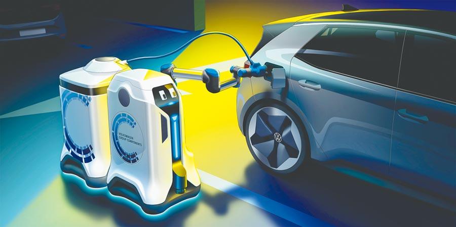 VW移動充電機器人可以完全自主地執行充電過程,而且還可以在停車場自由移動,並且會閃避障礙。(VW提供)