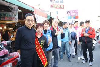 劉家昌陪同洪秀柱到台南黃昏市場拜票
