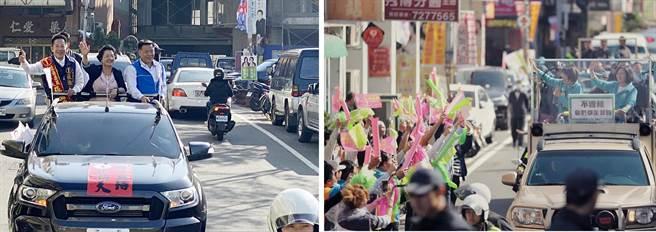 大車拚!蔡英文陪黃秀芳 王惠美陪張瀚天車隊掃街掀熱潮