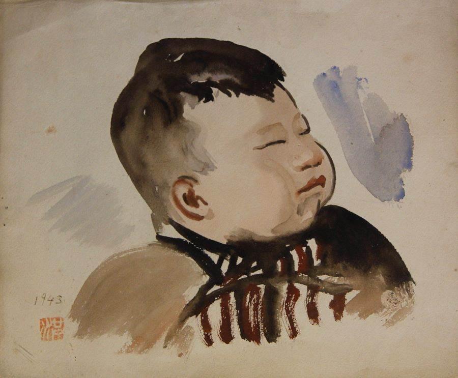 人物(洪鈞雄嬰兒時)_水彩1943。(圖取自文化部官網)