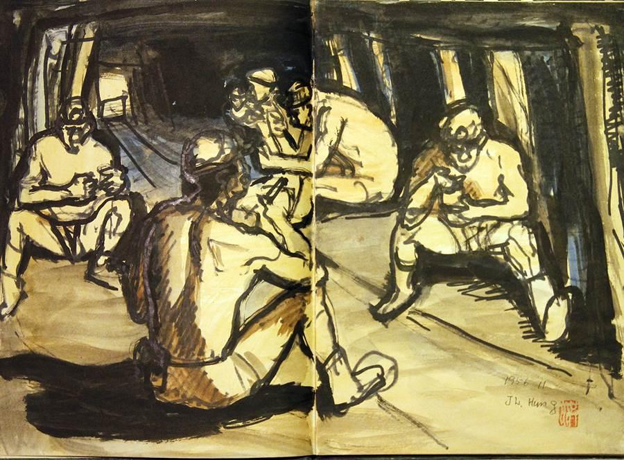 礦工_素描1956。(圖取自文化部官網)