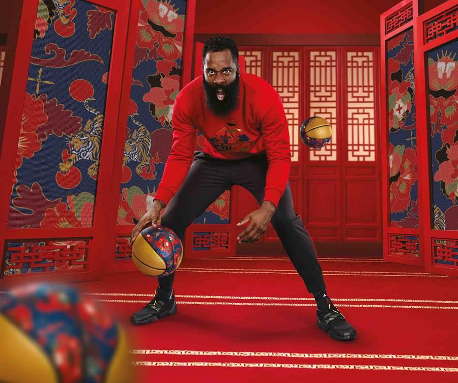 哈登穿上adidas新春款服裝及籃球鞋。