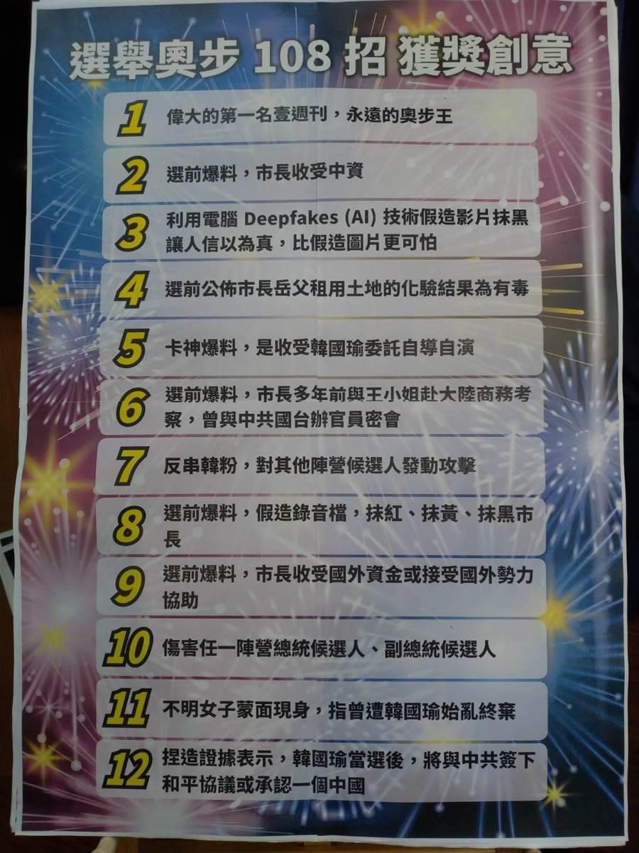 韓辦從「完整的大解密奧步108招」徵件選出前12名。(黃福其攝)