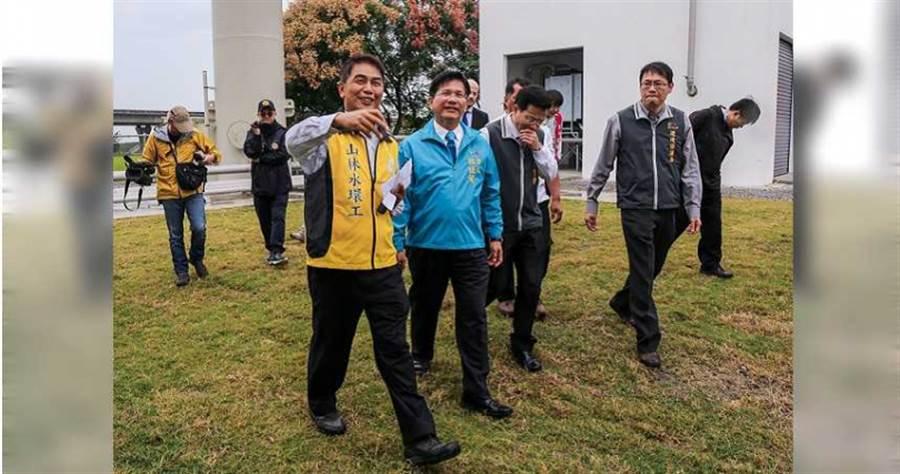 時任市長的林佳龍(中)在選前出席電廠完工祈福典禮,邀請媒體採訪吸選票。(圖/台中市政府提供)