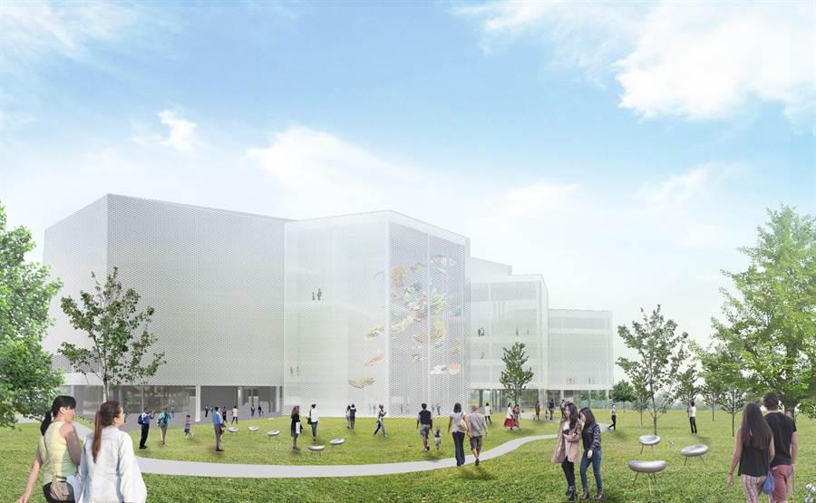 台中水湳經貿園區內的重要地標性公共建設「台中綠美圖」,預計於2022年完工,將在台灣燈會中將以花燈的形式亮相。(台中市文化局提供/陳淑芬台中傳真)
