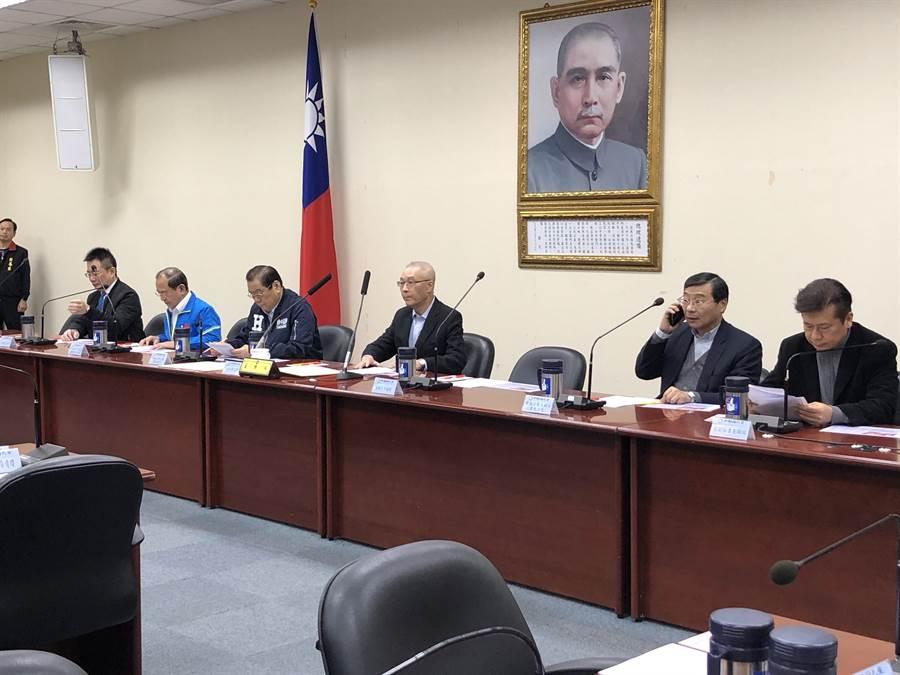 國民黨主席吳敦義今天下午在中常會一開始發表談話。(趙婉淳攝)