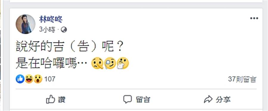 林咚咚催雪碧快提告。(圖/翻攝自林咚咚臉書)