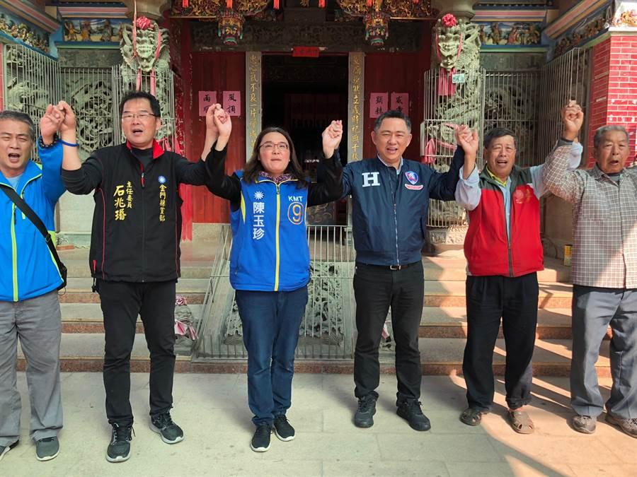 楊鎮浯與陳玉珍合體,期待贏得立委選戰,也讓韓國瑜開出漂亮的票數。(李金生攝)