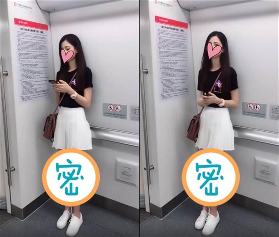 通勤驚見神級正妹 逆天長腿超誘惑(圖/摘自微博/哈喽W女王)