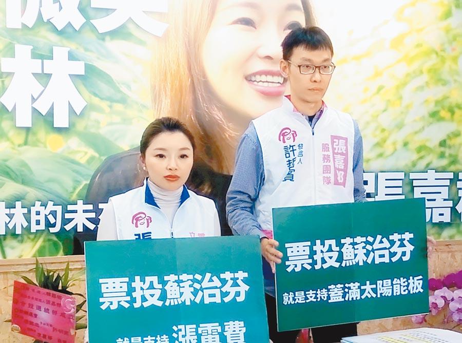 國民黨雲林縣第一選區立委候選人張嘉郡(左)強調,支持蘇治芬等於支持漲電費。(許素惠攝)