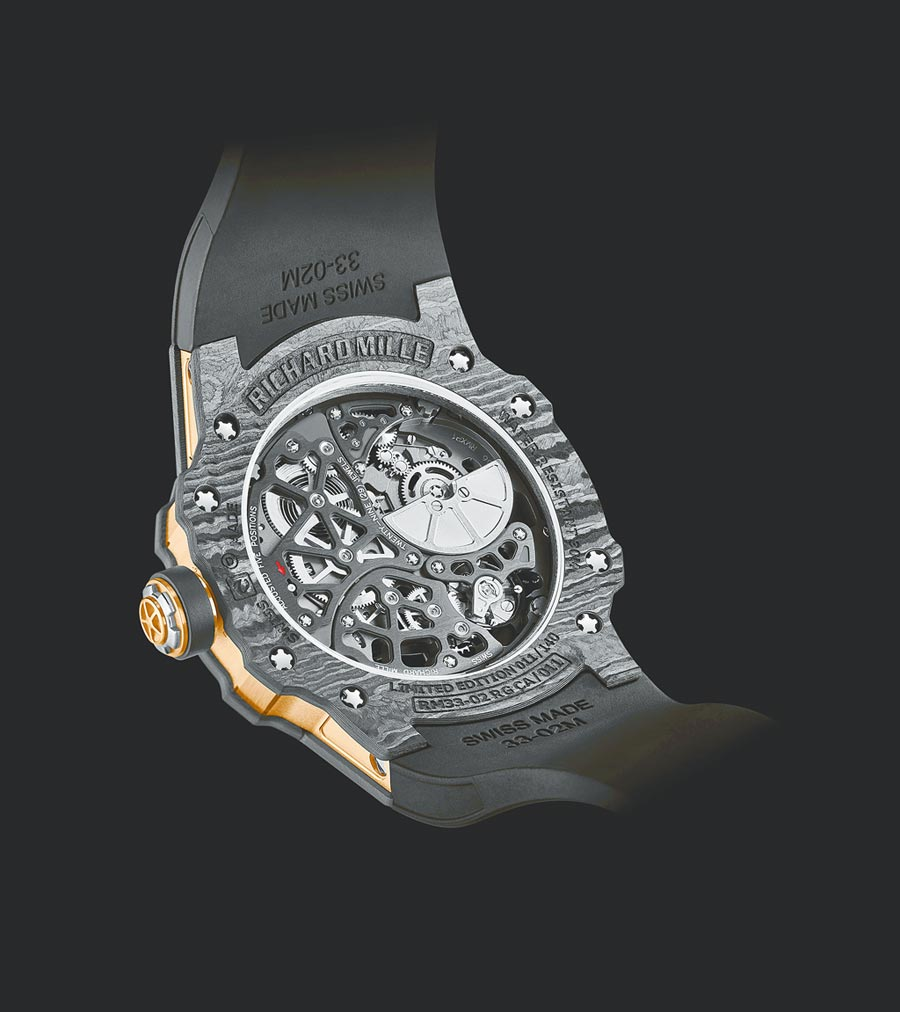 RM33-02腕表的鏤空表背可欣賞五級鈦合金材質的RMXP1超薄機芯運轉的盛況。(RICHARD MILLE提供)