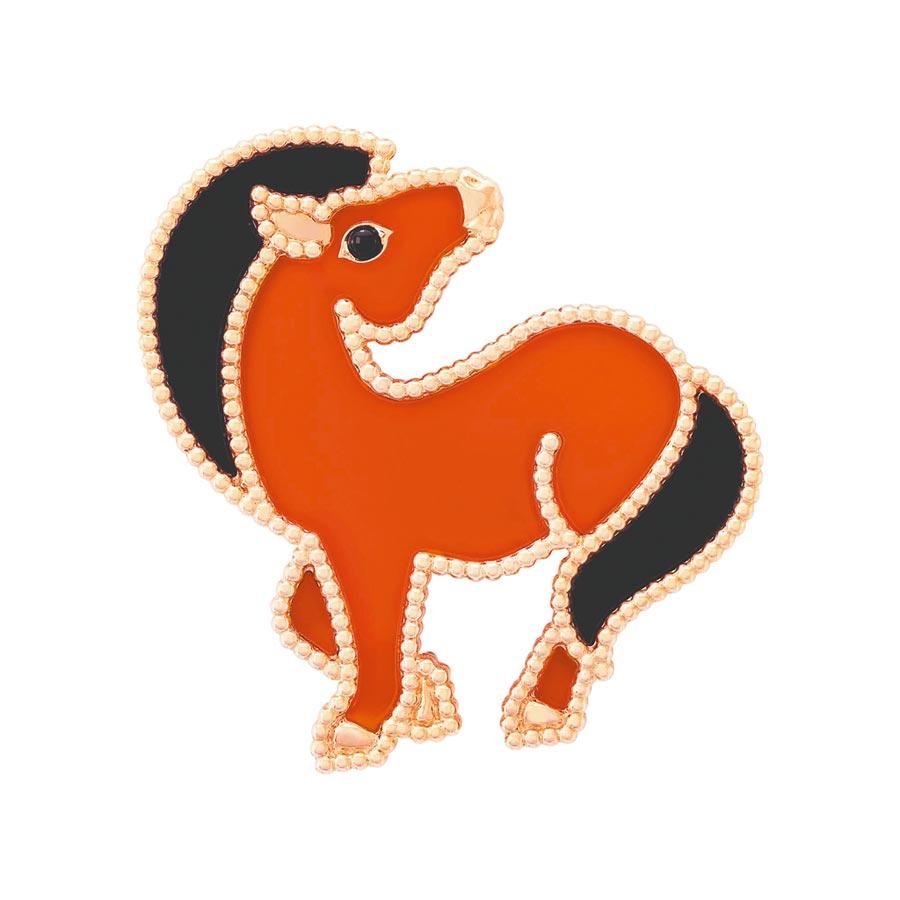 梵克雅寶2020年新登場的Lucky Animals小馬胸針。(Van Cleef & Arpels提供)