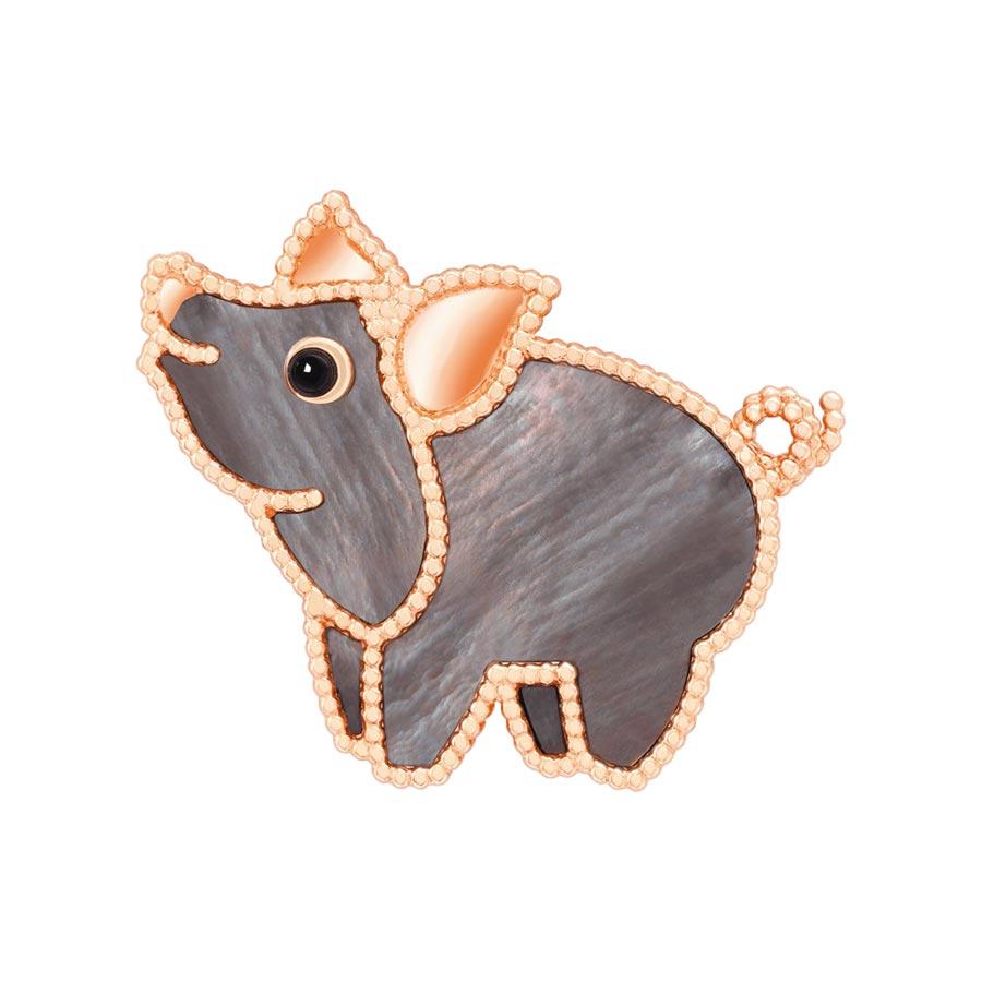 梵克雅寶2020年新登場的Lucky Animals小豬胸針。(Van Cleef & Arpels提供)