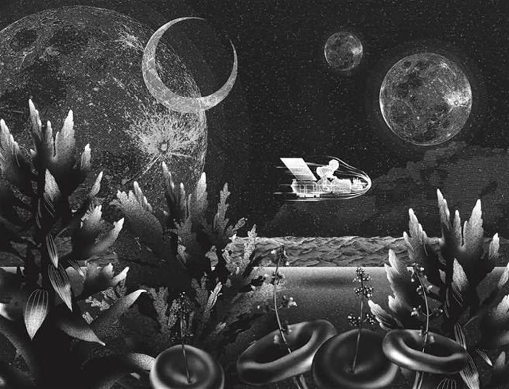 葉馨文將機械人的外型刻劃如太空人,在充滿水草、機械殘骸的海床中巡視。(葉馨文提供/王寶兒台北傳真)