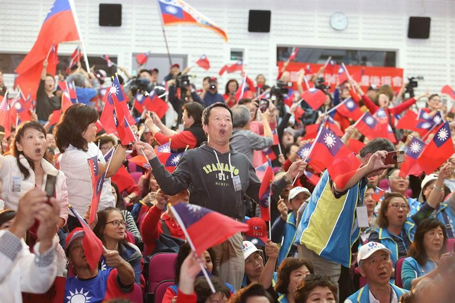 國民黨四海同心團結造勢大會,來自海外的僑胞齊聚。(王英豪攝)