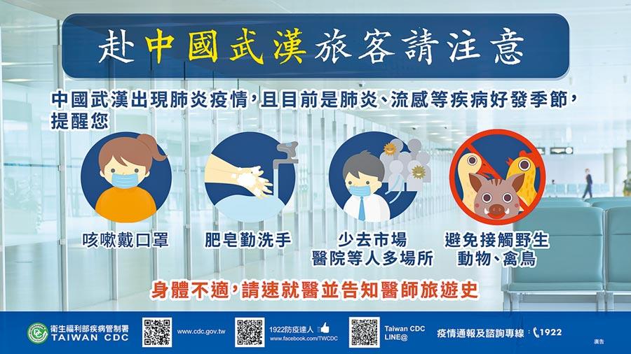 1月4日,疾管署提醒旅客,赴陸應留意個人衛生,避免接觸野生動物或禽鳥。(疾管署提供)